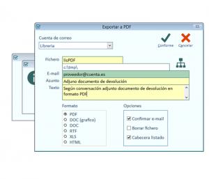 Exportar a PDF, Excel, Word, etc. cualquier documento o listado de la aplicación y enviarlo por email