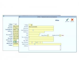 En todo el programa los campos de color VERDE admiten la tecla F2 que da acceso a la modificación o alta del mantenimiento que necesitemos